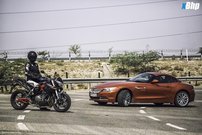 Driver vs Rider Benelli TNT 899 vs BMW Z4 18
