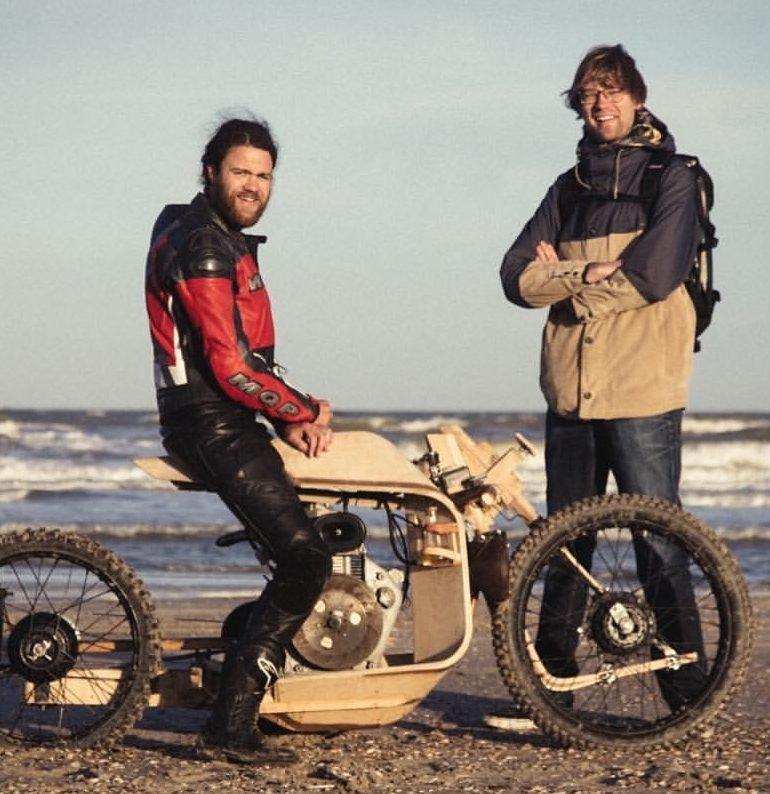 Wooden Motorcycle runs on Algae Oil!